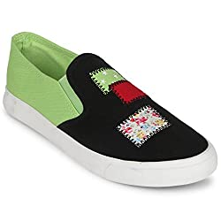Scantia Stylish & Comfortable Casual Slip-On Shoes For Women ( Colour : Black::Green )