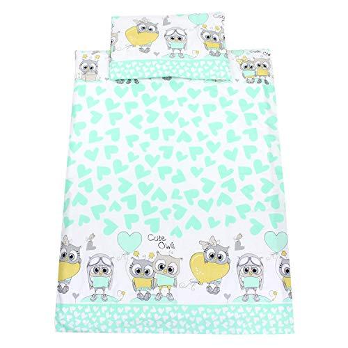 TupTam Kinderbettwäsche Set Gemustert 2 teilig, Farbe: Eulen mit Herzen / Mint, Größe: 135x100 cm