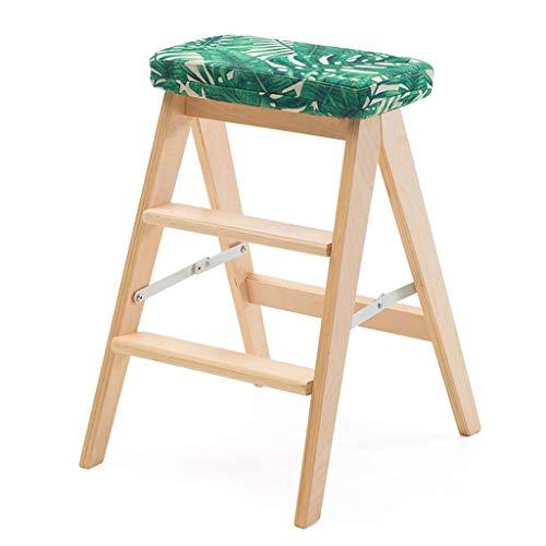 SCBED Massivholzhocker mit dreistufiger Leiter, klappbar für Küche, multifunktional (Farbe : H)