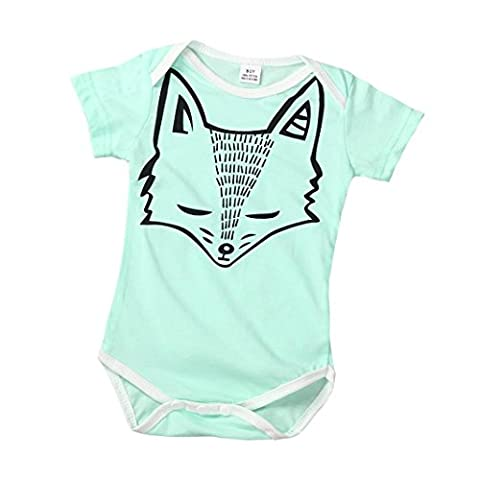 Kingko® Unisex Baby Short Sleeve T-Shirt Fox Printing Romper Jumpsuit Bodysuit Clothes Outfits Size 0~12M (3-6M,