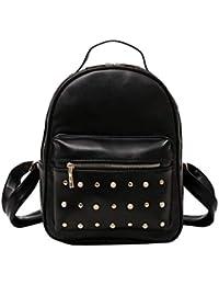 5c8ce1be6b6bb Layxi Damen Rucksack PU Leder Nieten Perle Backpack Work Reise Camping  Party Schule Schulranzen Fashion Modern