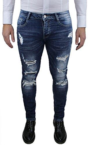 Jeans denim uomo pantalone blu scuro slim fit super aderente stretch con strappi (44)