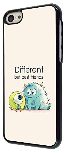 177-Cool Fun Monsters Different But Best Friends Coque iPhone 5C Design Fashion Trend Case Back Cover Métal et Plastique-Noir