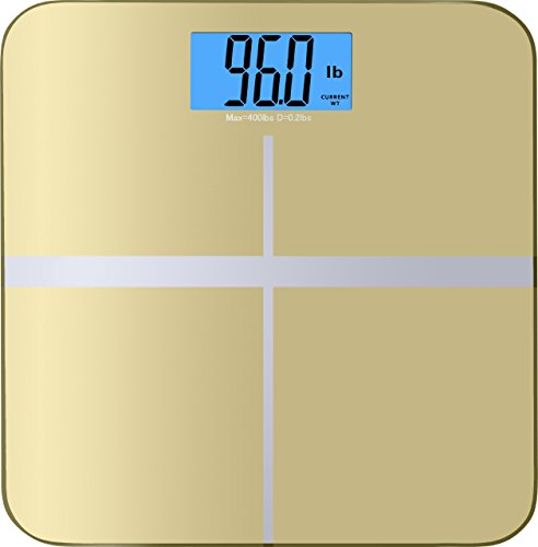 BalanceFrom High Accuracy MemoryTrack Premium Digital Bathroom Scale with ``Smart Step-On`` and MemoryTrack Technology, Extra Large Dual Color Backlight Display [NEWEST VERSION] (Gold)