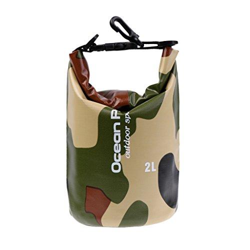 MagiDeal 2-30L Sac Etanche Imperméable en PVC Motifs de Camo Stockage à Sec pour Natation Rafting Canoë-kayak - camouflage vert, 2L