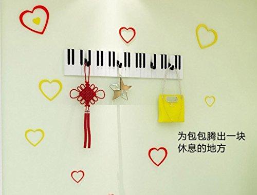 r Klavier Holzfurnier Tür Kleiderbügel Haken Wandhaken . b (Kunststoff-klavier-tastatur)