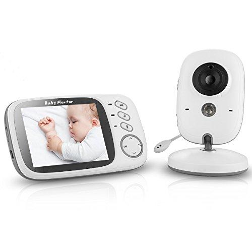 Vigilabebés, VOSMEP 3.2 Pulgadas Baby Monitor LCD Digital Vídeo Audio Baby Phone Inalámbrico Seguridad Baby Camera con Vision Nocturna Audio Bidireccional Canciones de Cuna Activación por Voz Monitorización de Temperatura EU Plug BM014
