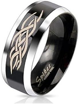 Paula & Fritz® Ring aus Edelstahl Chirurgenstahl 316L 6 oder 8mm breit schwarzes Band mit Tattoo Ringgrößen 47...