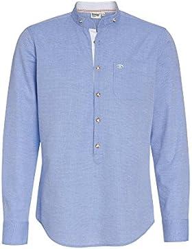Distler Herren Trachtenhemd Langarm - Stehkragen Hellblaues Langarmhemd Modisches Herrenhemd Trachtenmode Brusttasche...