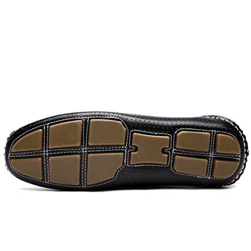 YOUJIA Herren Casual Slipper Atmungsaktiv PU-Leder Mokassins Slip On Flache Schuhe #1 Schwarz