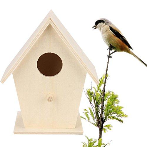 squarex Repos Maison en Bois pour Oiseaux – Peut Abriter à partir de Temps Froid – DIY Nest DOX Nest House Bird Box, idéal pour Finch et canari AS Show B (Size: 12x9.5cm)