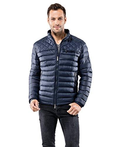 Vincenzo Boretti Herren Steppjacke slim-fit tailliert Übergangs-Jacke leicht dünn weich warm gefüttert für Frühling Herbst modern elegant - ein Style für Business und Freizeit dunkelblau XL