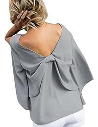 Blusa de Mujer, BaZhaHei, Mujeres Espalda con Cuello en V Bowknot Blusa Gasa Manga Larga Camiseta Tops Camisas de Mujer chifón con Cuello en…