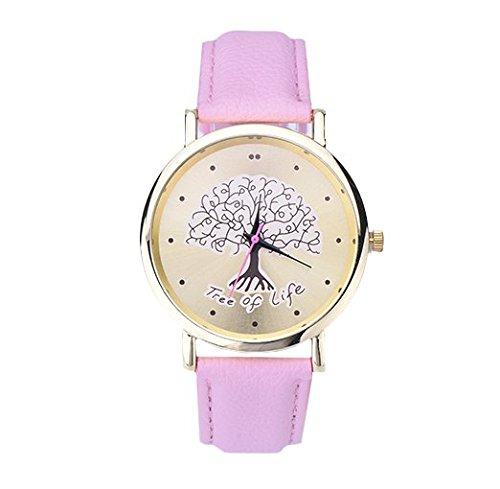 mujer reloj de pulsera tree of life árbol de la vida analógico de cuarzo oro rosa
