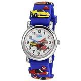 Té de Wee Niños Cuarzo Reloj Coches 27mm Azul Caucho Pulsera analógico uw316b