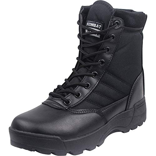 Wealsex Mens Women Leather Desert Army Boots Side Zip Combat Patrol Boots Safety Military Breathable Outdoor Hiking Boots