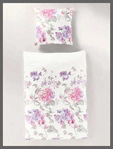 Bierbaum Fein-Biber Design 6978, Rosa, Bettdecke 135/200 + Größe Kissen 080/080 Bettwäsche, Baumwolle, 135 x 200 cm, 2-Einheiten