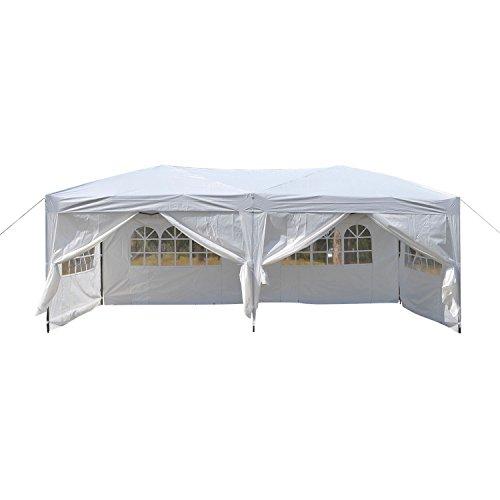 Outcamer gazebo 3*6m tenda padiglione pieghevoli impermeabile con pannelli laterali finestra per eventi matrimonio in giardino in acciaio rivestito a polvere, bianco
