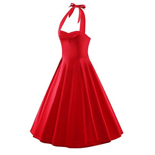 iLover Damen Marilyn Vintage Retro Cocktail Abschlussball Kleider 50er 60er  Rockabilly Neckholder Rot ...