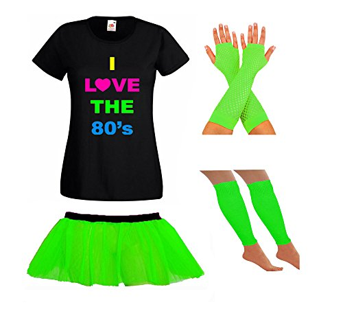 Neon Green I Love The 80s T-shirt, Skirt, Gloves and Leg Warmers Set for Adults. SIzes 8 to 18