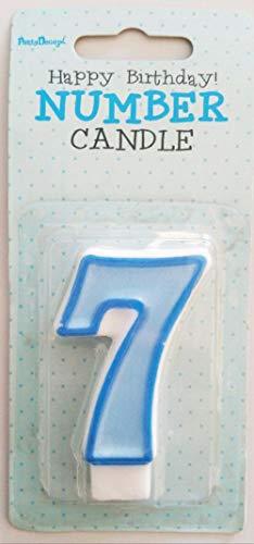 Partydeco Vela número 7, Color Azul