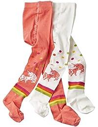 wellyou leotardos para bebés/niños, medias para niñas/niños, pantimedias para niños coral/blanco unicornio juego de 2 tallas 62-146