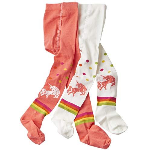 wellyou baby/kinder strumpfhosen für mädchen/jungen, babystrumpfhose/kinderstrumpfhose koralle/weiß Einhorn 2er set gr 122-128 2 Pack 123
