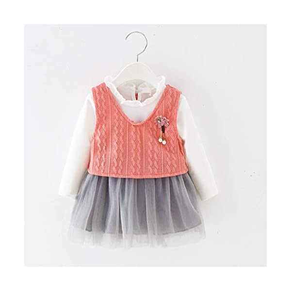 Heetey - Conjunto de Ropa y Abrigo para niña, con Volantes, Manga Larga, Vestido de Princesa + Chaqueta, Lazo, suéter… 2