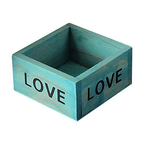 wdoit Vintage Plant caja de almacenaje multifuncional gran capacidad cuadrado macetas suculentas oficina organizador de escritorio, madera, azul, 9.8x9.8x5cm