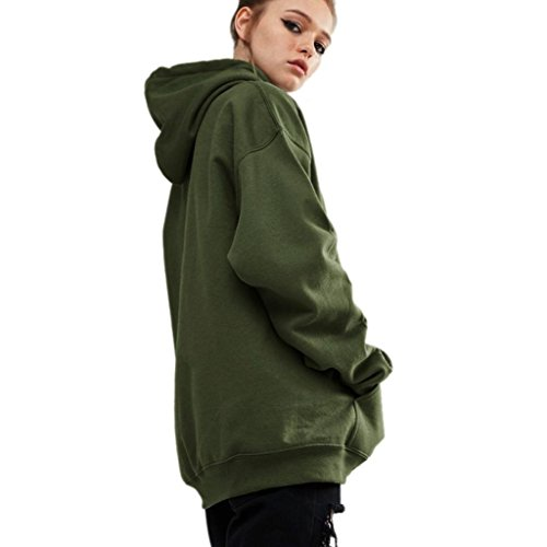 FEITONG Frauen Kapuzenpulli Sweatshirt Beiläufiger Lange Hülsen Kapuze Mantel Armeegrün
