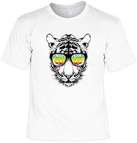 Flippiges T-Shirt für den kreativen Katzenfan: Neon Retro Tiger Katze