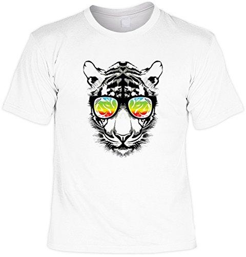 Buntes Tiger Motiv - Tiger Sonnenbrille Tigershirt : Retro Tiger - bedrucktes T-Shirt Tiger Gr: M