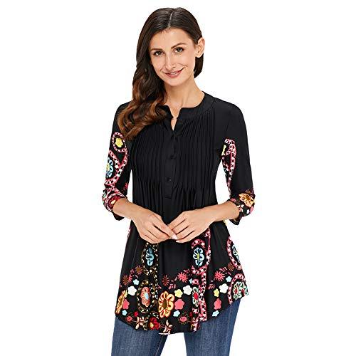 Damen Langarmshirt 3/4 Arm Bluse Vintage Blumenmuster Oberteile Rundhals Tops, Schwarz,  M
