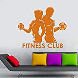 Fitness Club Decal Gym Autocollant Musculation Dumbbell Posters Autocollants En...