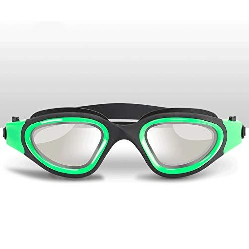 ZTMN Schwimmbrille hochauflösende Brille beschlagfrei wasserdicht männer und Frauen professionelle Schwimmbrille Mode großen Rahmen (Farbe: GRÜN)