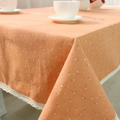 Home tischdecke,Vintage tischdecke,Stoff baumwolle leinen.Sauber Floral Edge Teetisch Längliche tischdecke Quadratische tischdecken Orange tischdecke-orange 120x120cm(47x47inch) -