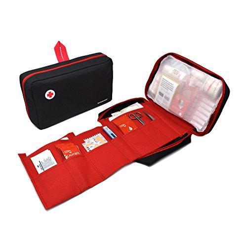 41vAOG48vvL - Botiquín primeros auxilios SUPER ROL con 120 artículos indispensables para realizar curas de emergencia (NEGRO)