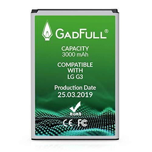 GadFull Akku für LG G3 | 2019 Baujahr | Entspricht dem original BL-53YH |Lithium-Ionen-Akku der Modelle LG G3 D830 | D851 | D855 | LS990 |Ersatz Handy-Akku für Ihr Smartphone|Perfekt als Ersatz-Akku