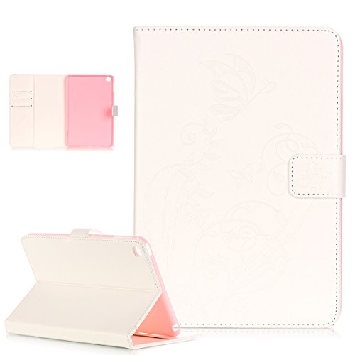 Mini 4 Hülle,iPad Mini 4 Lederhülle,Prägung Blumen Reben Schmetterling PU Lederhülle Handyhülle Handy Tasche Flip Wallet Ständer Schutzhülle für 7.9 iPad Mini 4 2015 Modell,Weiß ()