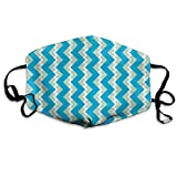 Chevron Nested Two Frequency White Mint Teal Anti-Dust Cotton Mouth Face Masks Reusable for Outdoor Half Face Masks