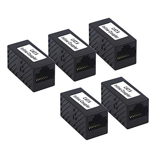 VCE UL-Gelistet CAT6 Ethernetkabel Adapter POE RJ45 Kupplung Verlängerung Patchkabel Verbinder Netzwerkkabel Kupplung 5 Stück