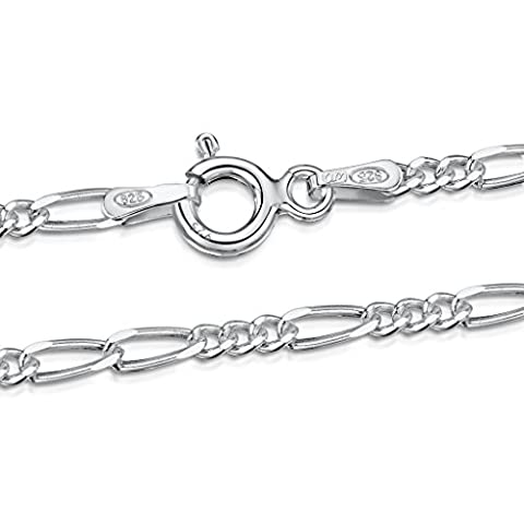 Amberta 925 Sterling Silver 2.7 mm Figaro Chain Necklace Length 18