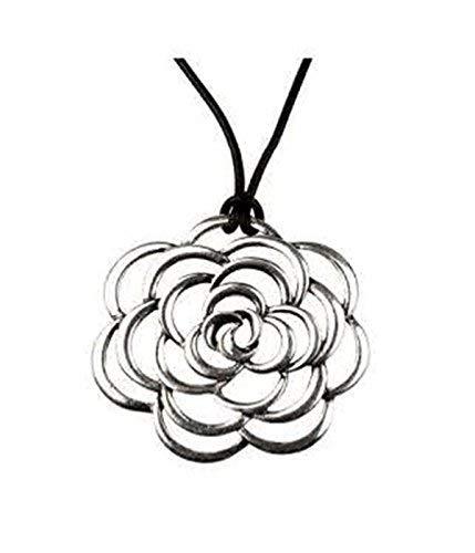 Hypoallergener Chirurgenstahl Rhodium plattiert mit Leder Kette offene Rose Prinzessin Halskette (Rose Die Gold Jewel Prinzessin)