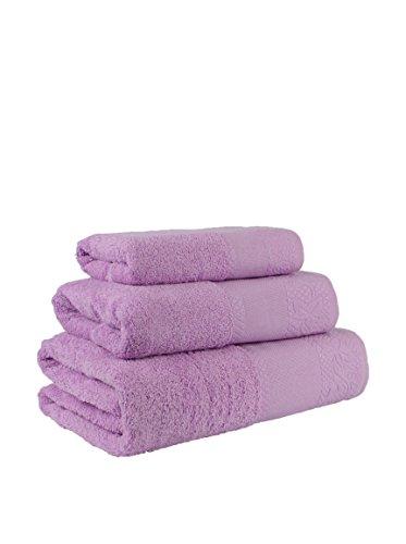 Flor Algodón Panama Juego 3 toallas algodón, LILA