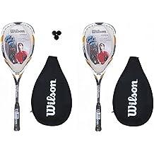 Wilson Hyper Hammer 145 - Juego de 2 raquetas de squash, incluye funda y 3 bolas de squash, color rojo
