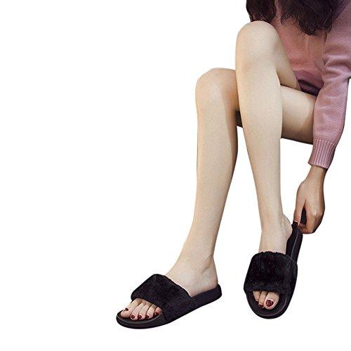 Sandali,Topgrowth Donne Slip Su Cursori Birichino Pelliccia Finta Pantofola Flip Flop Sandalo Nero