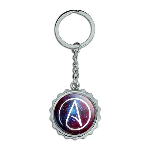 Atheist Atheismus Symbol in Platz verchromtem Metall Pop Cap Flaschenöffner Schlüsselanhänger Ring
