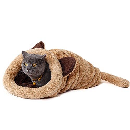 Pawz Road Katzen Schlafsack Waschbar bequem Haustier Kissen Katzenbett Kuschelhöhle aus Fleece für Katzen, Kleintiere oder Welpen 60X58CM Beige