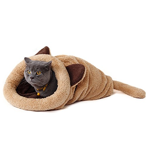 PAWZ Road Washable Cat Sleeping Bag Tent Dog Bed Snuggle Cave Cute Sack Mat for Kitten and Puppy Beige
