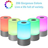 Smart Nachttischlampe, Lixada Dimmbar Nachtlicht für Kinderzimmer, Stimmungslicht 256 RGB Farbwechsel mit 3 Helligkeit für Wohnzimmer, Touch-Bedienung, USB Wiederaufladbar (Touchsensor)